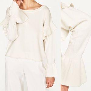 Zara knit ruffle bell sleeve sweater